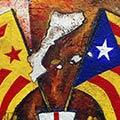 Detall del quadre amb estelada roja estelada blava i escut de Sant Jordi per la Teixidora