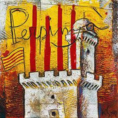 Senyera amb Castellet de Perpinyà