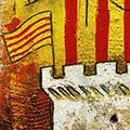 Detall del quadre amb senyera i Castellet de Perpinyà