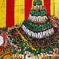 Detall del quadre personalitzat amb senyera i Castellers de Vilafranca