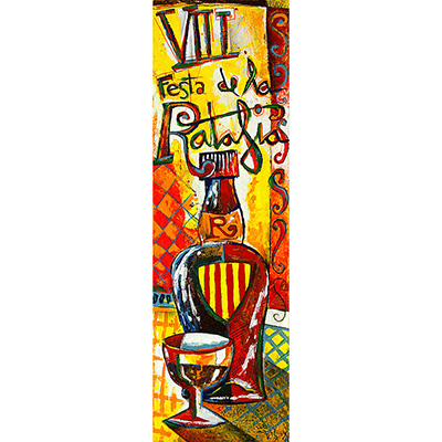 Ampolla i copa de ratafia amb escut català