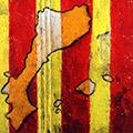 Detall del quadre amb senyera, Països catalans i 'Catalunya'