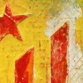 Detall del quadre d'estelada roja feta amb colors