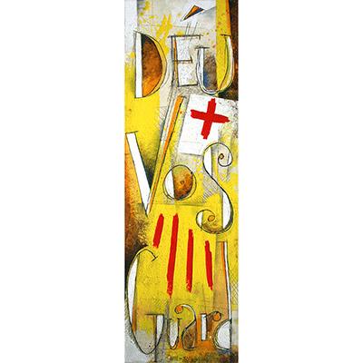 Déu vos guard amb 4 barres i escut de St. Jordi