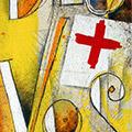 Detall del quadre amb senyera i Déu vos guard