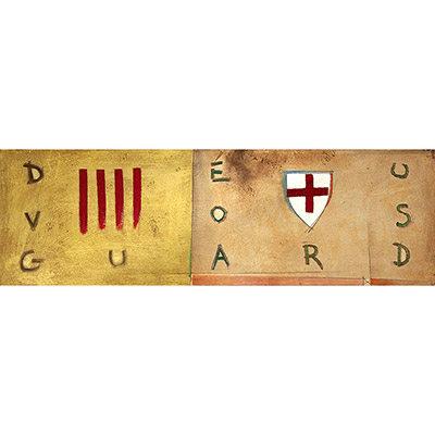Pintura amb Déu Vos Guard, senyera i escut de St. Jordi