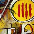 Detall del quadre amb senyera i Déu vos guard gran