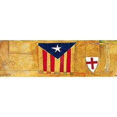 Estelada blava i escut de St. Jordi