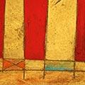 Detall del quadre horitzontal amb estelada blava i escut de Sant Jordi