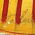 Detall del quadre horitzontal amb estelada roja i creu de Sant Jordi