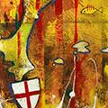 Detall del quadre vertical amb estelada roja creu Sant Jordi i Països Catalans