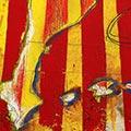 Detall del quadre amb estelada blava mapa Països Catalans escut Sant Jordi i lletres CAT