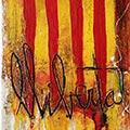 Detall del quadre vertical amb estelada roja i Llibertat!