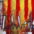 Detall del quadre vertical amb estelada blava i Llibertat