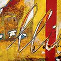 Detall del quadre horitzontal amb estelada roja més mapa Països Catalans més escut de Sant Jordi i Llibertat