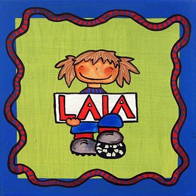 Nena vestida del Barça i nom 'Laia'
