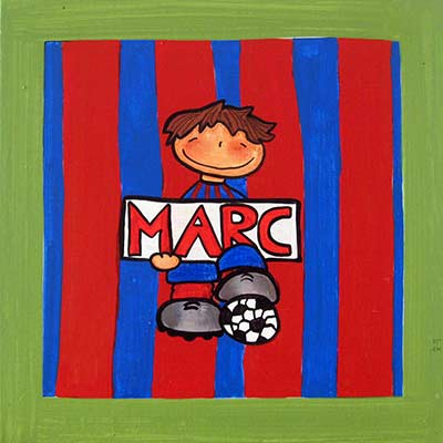 Nen vestit del Barça i nom 'Marc'