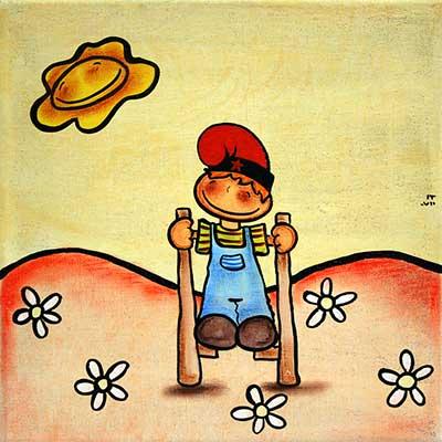 Nen amb xanques i barretina catalana