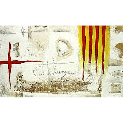 4 barres, creu St. Jordi i 'Catalunya' escrit