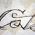 Detall de les lletres escrites i pintades
