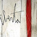 Detall del quadre amb estelada, 'Llibertat' i PPCC