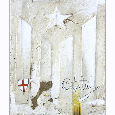 Estelada blanca i símbols catalans