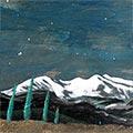 Detall del quadre amb la muntanya del Canigó de nit