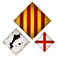 Composició de 3 mides (rombes) amb senyera, Països catalans i creu St. Jordi