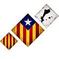 Composició de 3 mides (rombes) amb estelada, senyera i Països catalans