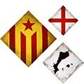 Composició de 3 mides (rombes) amb estelada, Països catalans i creu St. Jordi