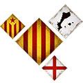 Composició de 4: amb senyera, PPCC, creu St. Jordi i estelada