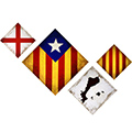 Composició de 4: amb estelada blava, estelada, PPCC, creu St. Jordi