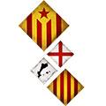 Composició de 4: amb estelada roja, senyera, creu St. Jordi i perfil PPCC
