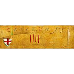 Pintura amb senyera i escut de St. Jordi
