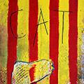 Detall del quadre amb senyera, mapa dels Països Catalans i text CAT