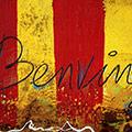 Detall del quadre amb senyera gran i text Benvinguts