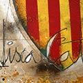 Detall del quadre amb escut de Catalunya i text Visca Catalunya
