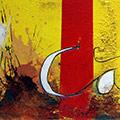 Detall del quadre amb senyera gran i text Catalunya