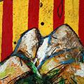 Detall del quadre amb senyera i muntanya del Pedraforca