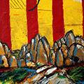 Detall del quadre amb senyera i muntanyes de Montserrat