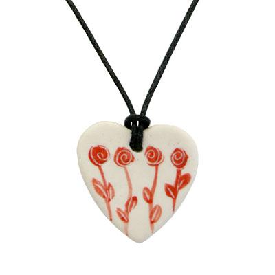 Collaret de porcellana amb cor i 4 roses