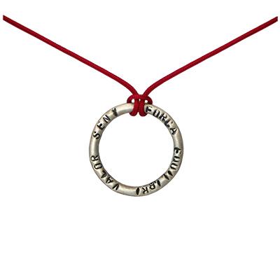 Collaret de fil i 'anell' en Plata 'Força, equilibri, valor i seny'