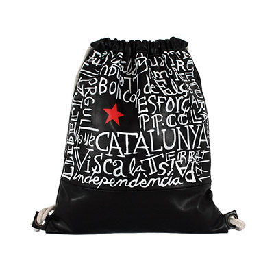 Bossa d'esquena amb lletres i estel roig