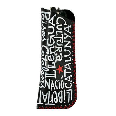 Funda per a ulleres amb lletres i estel roig
