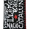 Detall de les lletres de la funda de cuir pintat amb lletres i estel roig