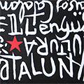 Detall del targeter pintat amb lletres i estel roig