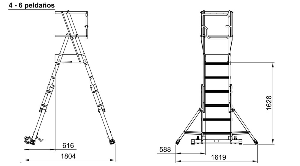 Escalera de aluminio con plataforma plegable 4 6 for Escalera aluminio plegable