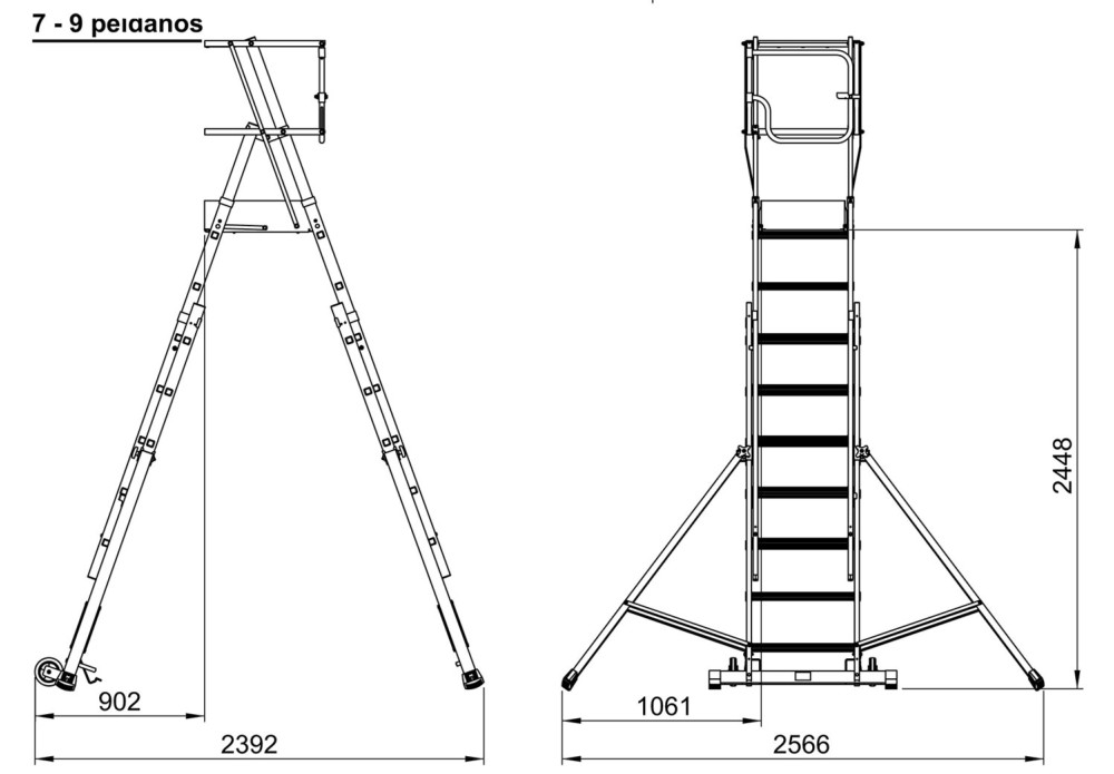 Escalera aluminio con plataforma plegable 7-9