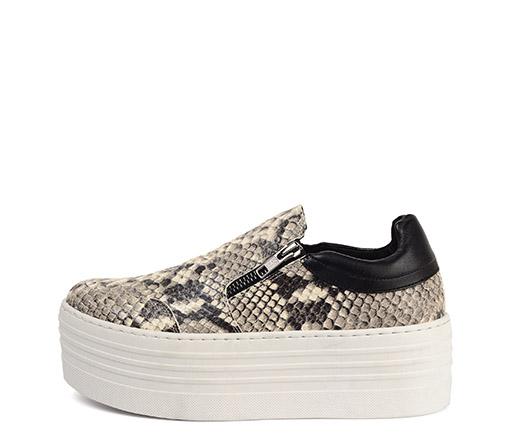 Ref: 3290 Sneaker de serpiente con doble cremallera y plataforma de 5.5 cm