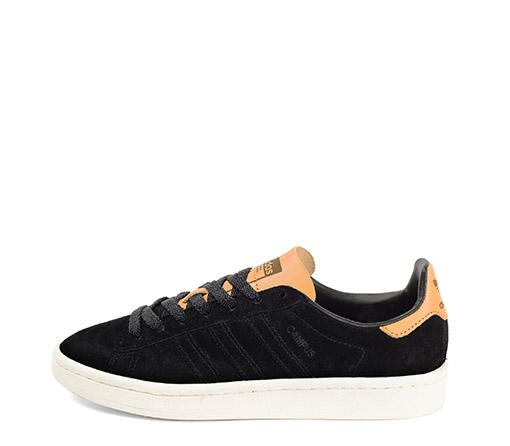 Ref. 3297 Adidas Campus W serraje negro con detalles en color camel. Suela blanca.